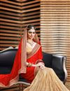 photo of Ready To Ship Attractive Satin And Jacquard Party Wear Saree In Beige And Red Color
