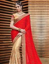 image of Ready To Ship Attractive Satin And Jacquard Party Wear Saree In Beige And Red Color