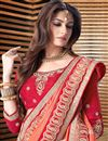 picture of Alluring Cream And Orange Color Georgette Party Wear Saree