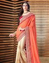image of Alluring Cream And Orange Color Georgette Party Wear Saree