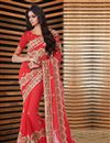 image of Soothing Red Color Party Wear Georgette Designer Saree