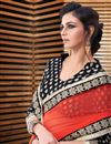 photo of Fascinating Orange And Beige Color Party Wear Saree In Georgette Fabric