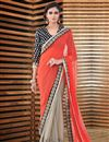 image of Fascinating Orange And Beige Color Party Wear Saree In Georgette Fabric