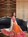 photo of Charismatic Cream And Orange Color Fancy Fabric Designer Party Wear Saree