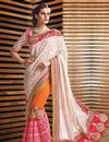 image of Charismatic Cream And Orange Color Fancy Fabric Designer Party Wear Saree