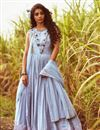 image of Fancy Anarkali Dress With Pleated Flares And Attached Drape Dupatta
