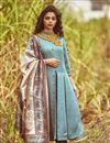 image of Long Dress With Box Pleat And Printed Dupatta