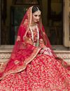 photo of Ready To Ship Banglori Silk Fabric Bridal Wear Red Color Designer Lehenga Saree With Embroidery