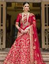 image of Ready To Ship Banglori Silk Fabric Bridal Wear Red Color Designer Lehenga Saree With Embroidery