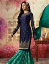 picture of Ready To Ship Function Wear Navy Blue Sharara Suit With Work In Georgette Fabric