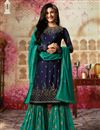 image of Ready To Ship Function Wear Navy Blue Sharara Suit With Work In Georgette Fabric