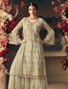 image of Ready To Ship Cream Designer Function Wear Sharara Suit In Net Fabric