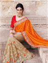 photo of Charismatic Orange And Cream Color Wedding Wear Sa
