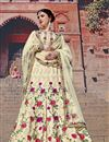 image of Designer Function Wear Cream Color Art Silk Fabric Fancy Embroidered Lehenga