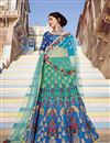 image of Wedding Function Wear Fancy Blue And Cyan Color Art Silk Fabric Embellished Lehenga