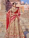 image of Sangeet Wear Designer Cream Color Art Silk Fabric Embroidered Fancy Lehenga Choli