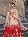 image of Wedding Wear Designer Fancy Red And Peach Color Art Silk Fabric Embellished Lehenga Choli
