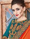 photo of Festive Wear Fancy Orange Color Georgette Embroidered Saree