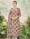 image of Casual Wear Floral Print Grey Color Straight Cut Pashmina Salwar Suit