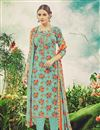 image of Casual Floral Print Cyan Color Floral Print Straight Cut Pashmina Salwar Suit