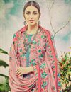 photo of Casual Style Floral Print Pink Color Straight Cut Pashmina Dress Material
