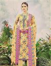 image of Casual Wear Floral Print Yellow Color Straight Cut Pashmina Salwar Suit