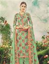image of Floral Print Green Color Casual Style Straight Cut Pashmina Dress Material