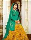 photo of Fancy Yellow Color Cotton Party Wear Sharara Top Printed Embroidered Lehenga