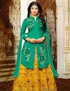 image of Fancy Yellow Color Cotton Party Wear Sharara Top Printed Embroidered Lehenga