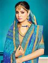 photo of Dazzling Georgette Sky Blue Designer Bandhej Style Saree
