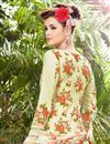 photo of Beige Cotton Printed Casual Wear Straight Cut Salwar Suit