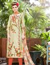 image of Beige Cotton Printed Casual Wear Straight Cut Salwar Suit