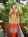 image of Cotton Mustard Casual Wear Straight Cut Dress With Print Work