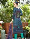 photo of Navy Blue Cotton Designer Straight Cut Printed Salwar Kameez