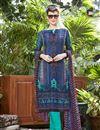 image of Navy Blue Cotton Designer Straight Cut Printed Salwar Kameez