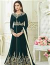 image of Krystle Dsouza Green Color Georgette Designer Long Anarkali Salwar Kameez