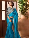 image of Alluring Lace Work Party Wear Saree In Chinon Sky Blue