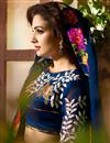 photo of Navy Blue Designer Function Wear Chinon Fancy Saree With Lace Work
