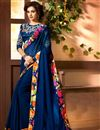 image of Navy Blue Designer Function Wear Chinon Fancy Saree With Lace Work