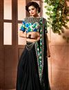 image of Trendy Chinon Party Wear Black Saree With Lace Work