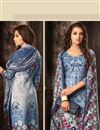 photo of Fancy Fabric Office Wear Salwar Kameez In Blue Color With Beautiful Print Designs