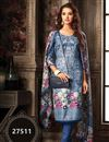 image of Fancy Fabric Office Wear Salwar Kameez In Blue Color With Beautiful Print Designs