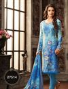 image of Designer Festive Wear 3 Piece Printed Salwar Suit In Blue Color Fancy Fabric With Attractive Designs