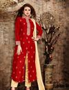image of Stylish Embroidered Banglori Silk Salwar Kameez In Red Color