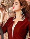 photo of Maroon Color Party Wear Designer Suit With Embroidery Work