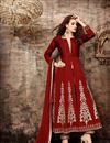 image of Maroon Color Party Wear Designer Suit With Embroidery Work