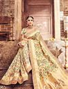 photo of Beige Color Banarasi Silk Fabric Party Wear Saree With Designer Blouse