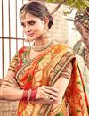 photo of Spectacular Orange Color Party Wear Saree With Designer Blouse