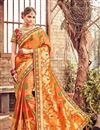 image of Spectacular Orange Color Party Wear Saree With Designer Blouse