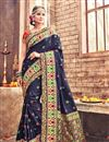 image of Mesmeric Navy Blue Color Festive Wear Traditional Saree In Banarasi Silk Fabric